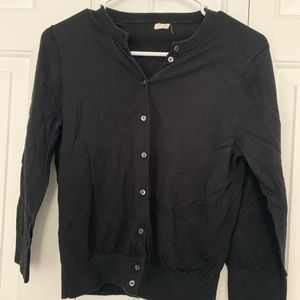 J CREW 3/4 SLEEVE BLACK CARDIGAN SWEATER